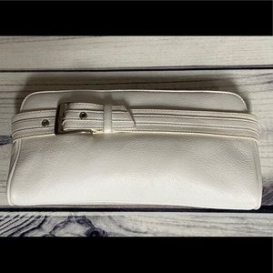 Express White Leather Clutch Bag - New